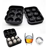 BSITFOW Flexible Hot Silicone Spherical 6 Round Ball Ice Cube Tray Maker Mold with Lid Perfect Ice Spheres for Whiskey Lovers Cocktails (6 Section)