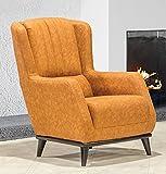Casa Padrino sillón orejero de Lujo marrón Claro/Negro 80 x 80 x A. 90 cm - Sillón de salón Moderno - Muebles de Salón