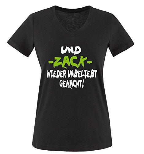 Comedy Shirts - UND Zack Wieder Unbeliebt GEMACHT! - Damen V-Neck T-Shirt - Schwarz/Weiss-Grün Gr. XXL
