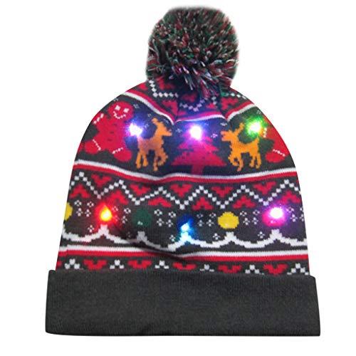 Sombrero de Navidad Gorra de Punto de LED Luz Sombrero de Patrón de Papá Noel Reno Monigote de Nieve Oso Favores de Fiesta para Adultos y Niños Yvelands J