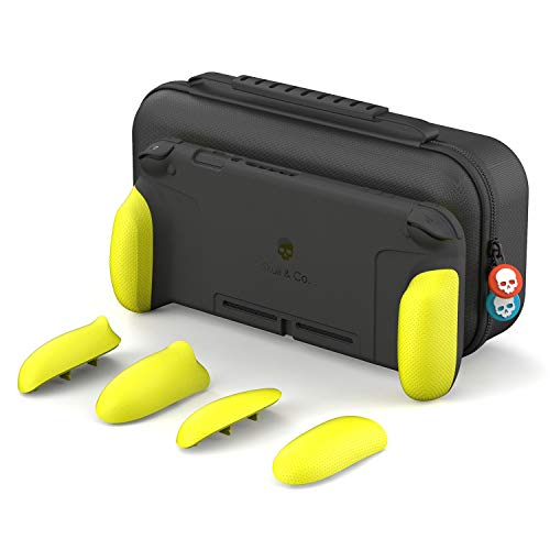 Skull & Co. GripCase Set: A Dockable Protective Case with Replaceable Grips [to fit All Hands Sizes] for Nintendo Switch - Neon Yellow [Arms Edition]
