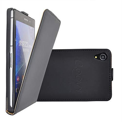 COOVY® Custodia per Sony Xperia Z2 D6502 D6503 Slim Flip Cover Case della Copertura di Vibrazione Protezione, Pellicola Protettiva per Schermo | Colore Nero