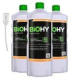 BIOHY Creme Seife (3x1l Flasche) + Dosierer | Hautschonende, rückfettende und geruchsneutrale...
