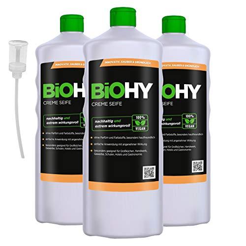 BIOHY Creme Seife (3x1l Flasche) + Dosierer | Hautschonende, rückfettende und geruchsneutrale Handseife Nachfüller aus dem pflanzlichen Bereich PHOSPHATFREI | Ohne Parfüm und Farbstoffe