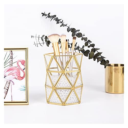 Wuxia - Tubo di stoccaggio irregolare in vetro nordico Ins oro, spazzola di bellezza in bronzo, pennello per il trucco, secchio semplice inserito vaso