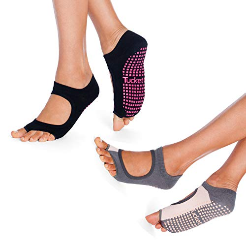 Tucketts Allegro Toeless Non-Slip Grip Socks, Made in Colombia, Mary Jane Style Perfect for Yoga, Barre, Pilates, One Size Fits Most, Black & Grey Blush, 2 Pair