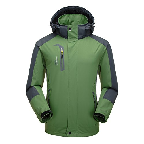 Naudamp Herren Outdoor wasserdichte Jacke Leichter Softshell Regenmantel Klettern Wandern Kleidung Berg Multi Taschen Windbreaker XXL grün