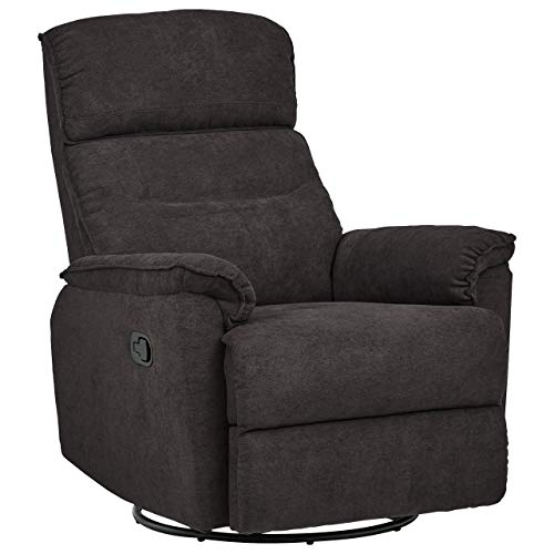 "Amazon Brand – Ravenna Home Pull Recliner with 360-Degree Swivel Glider, Living Room Chair, 32""W, Dark Grey"