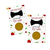 Festive Scratch Offs Pack (28 Cards) Christmas Party Games – Holiday Events for Groups, Kids, Work, Adults – Raffle Tickets - Business Drawings – Gold Red Green Bow Tie Theme