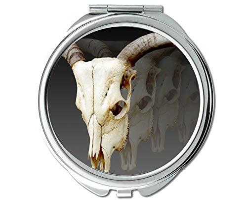 Yanteng Spiegel, runde Spiegel, schädel Tierwelt Ecke wild, taschenspiegel, 1 X 76X Vergrößerung
