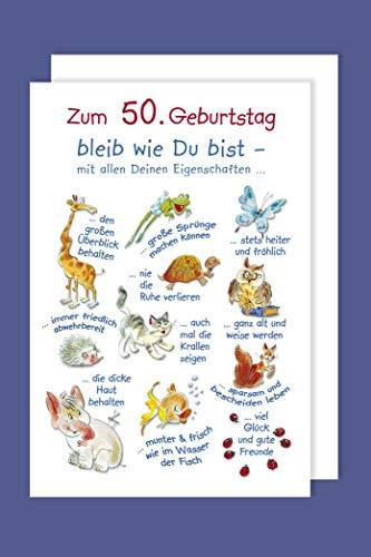 50 Geburtstag Karte Grußkarte Humor Eigenschaften 16x11cm