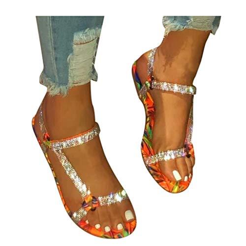 Toimothcn Women's Sandals Flip-Flops Leopard Print Flat Open Toe Shoes Casual Beach Roman Sandals(Orange,10.5)