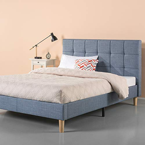 Zinus Lottie Upholstered Platform Blue Bed Frame | Model | Queen