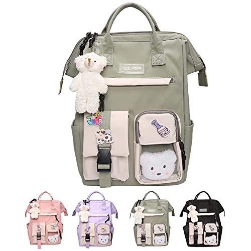 mochila kawaii con pin y accesorios kawaii, mochilas Kawaii Candy Colors, mochila de viaje linda de gran capacidad (C)