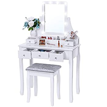 BEWISHOME Vanity Set with Lighted Mirror 10 LED Dimmable Bulbs Cushioned Stool Makeup Vanity Makeup Table Dressing Table 5 Drawers 2 Dividers Removable Organizers White FST08W