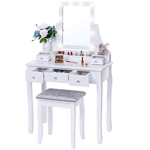 BEWISHOME Vanity Set with Lighted Mirror, 10 LED Dimmable Bulbs, Cushioned Stool, Makeup Vanity Makeup Table Dressing Table 5 Drawers 2 Dividers Removable Organizers White FST08W
