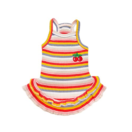 PETPUBGNZS Birthday Dog Dress Girl Rainbow Colorful Striped Cute Cherry Princess Skirt Spring Summer Pet Clothes for Puppy Small Medium Dogs Cats Dresses (red,M)