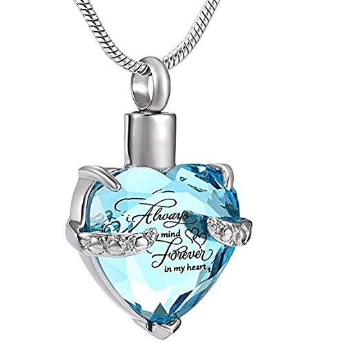 KBFDWEC Collar de cremación con Piedra de Nacimiento, Grabado Gratis, Siempre la Mente para Siempre en mi corazón, Colgante de urna Conmemorativa, Recuerdo de Cenizas para Mujeres
