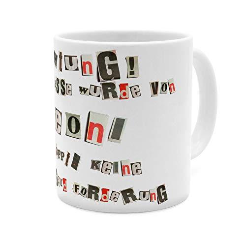 printplanet Tasse mit Namen Leoni - Motiv Ausgeschnittene Buchstaben - Namenstasse, Kaffeebecher, Mug, Becher, Kaffeetasse - Farbe Weiß