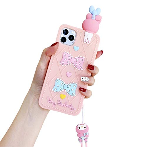 CaserBay Für iPhone 8 Plus, iPhone 7 Plus 5,5 Zoll, 3D Cute Cartoon Animal Character Soft Silicone Shockproof Rubber Case with Lanyard for Womens, Girls Peach Pink Melody