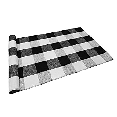 Levinis Buffalo Checkered Kitchen Runner Rug 100% Cotton Rugs Black/White Plaid Floor Rug for Porch/Kitchen/ Entry Way/ Laundry Room/Bathroom 23.6''x51.2'' - Material: 100% cotton; Size: 23.6''x51.2'' Cotton handmade braided rug with classic black, off white, grey check pattern Environmental protection fabric, anti fatigue area rug - runner-rugs, entryway-furniture-decor, entryway-laundry-room - 41Bvh6FcQgL. SS400  -