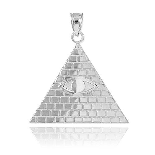 Joyara 14 Carat Or Blanc Pyramide Egyptienne avec Oeil dHoru