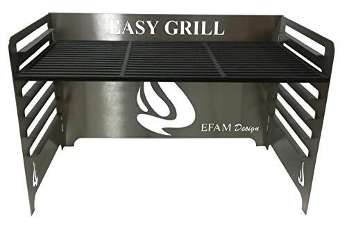 Efam Design Easy Grill 01 Support de Grill avec Grill en Fonte émaillée de 9 mm - Poids 10 kg - Code EAN 7061257738040 - REF EAGR01