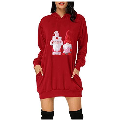 Zegeey Damen Sweatshirt Letter Print Kleid Hoodie Bag Pocket Langarm Top Sweater lässig FraueFrühling und Herbst Hemd Tops Pulli Shirts Lose Bluse
