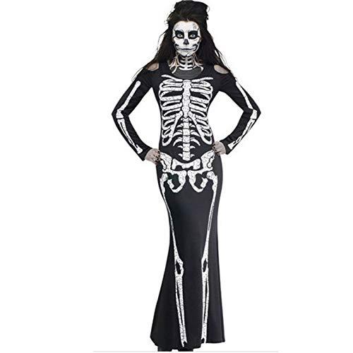GBYAY Disfraces de Cosplay de Halloween para Mujer Vestido de Manga Larga Disfraz de Esqueleto de Terror Mujer Ropa de Halloween