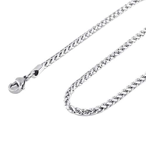 HZMAN 3.5mm Stainless Steel Wheat Silver Chain Necklaces for Men & Women 16' -30'