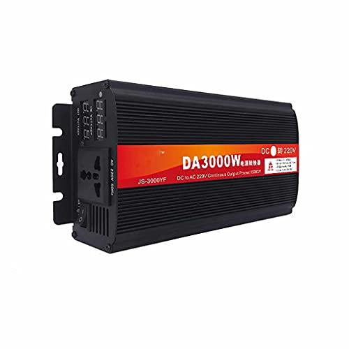 SJZD Inversor para vehículos DC 12V 24V 48V 60V a AC 220V, convertidor de Voltaje inversor de vehículo con Enchufe y Pantalla LCD, 12V-3000W