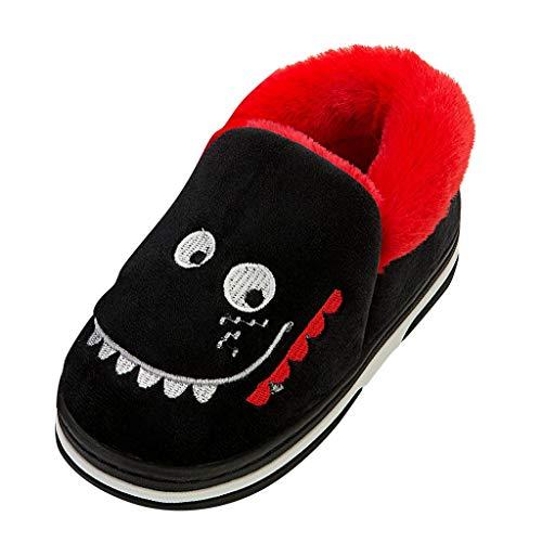Deloito BabyHausschuhe Säugling Mädchen Cartoon-Krokodil Tierdrucke Kinderschuhe Winter Warm Sneaker Jungen Freizeit Zuhause Baumwolle Schuhe (Schwarz,23 EU)