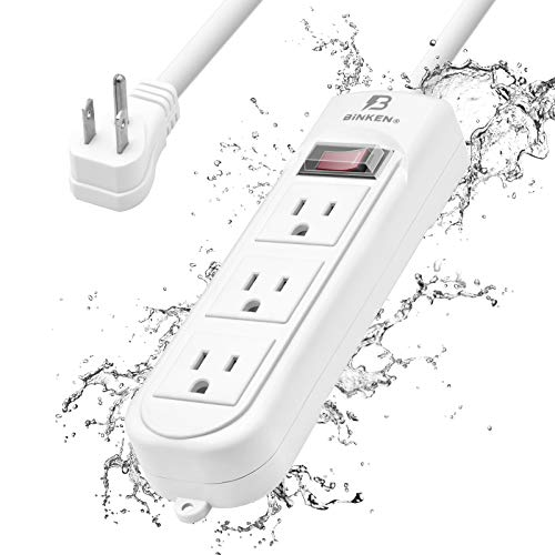Outdoor Power Strip, Weatherproof Surge Protector Power Strip, 6ft Flat Plug 3 Outlet with Electric Shockproof and 1500 Joules Overload Protection for Home, Garden, Patio, Kitchen, Living Room
