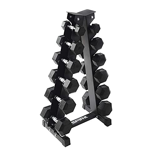 Inspire Fitness 210 lb. (5-30 lb.) Rubber Dumbbell Set with 6 pair Vertical Rack