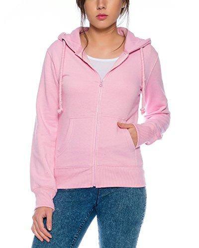 Crazy Age Cooler Zip Hoodie Kapuzenjacke Sweatjacke aus hochwertigen Baumwollmischung (Rosa, M=36)