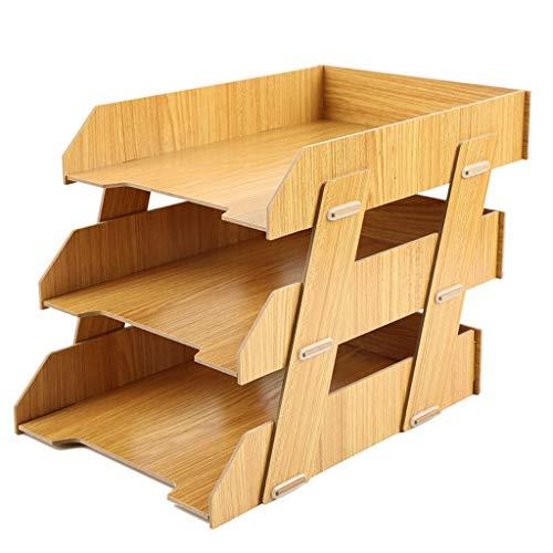 Ablagesystem für den Schreibtisch Holz Datei-Rack-3-Schicht-Ordner Storage Rack Stehen Desktop Datei Rack-Desk Organizer und Speicher for Dateien und Bücher Ordner-Ablagesysteme