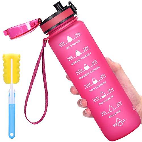 Favofit 1 Liter Trinkflasche mit Motivationszeitmarkierung, BPA-frei Tritan Wasserflasche mit Fruchtfilter und Reinigungsbürste, Auslaufsichere Sportflashce, 1 klick Öffnen, Rosa
