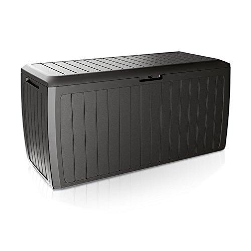 Mojawo XXL Kunststoff Auflagenbox Anthrazit 290L Kissenbox Gartenbox Gartentruhe auf Rollen für Polsterauflagen Kunststoff wasserdicht