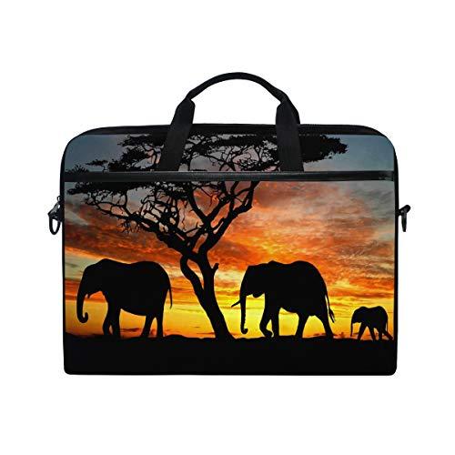 ALAZA Aztec Elephant Tree Sunset 15 inch Laptop Case Shoulder Bag Crossbody Briefcase Messenger Sleeve for Women Men Girls Boys with Shoulder Strap Handle, for Her Him