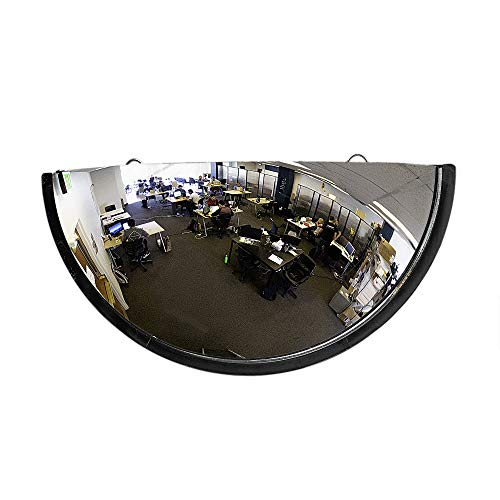 "18"" Acrylic Bubble Half Dome Mirror with Black Rim, Round Indoor Security -"
