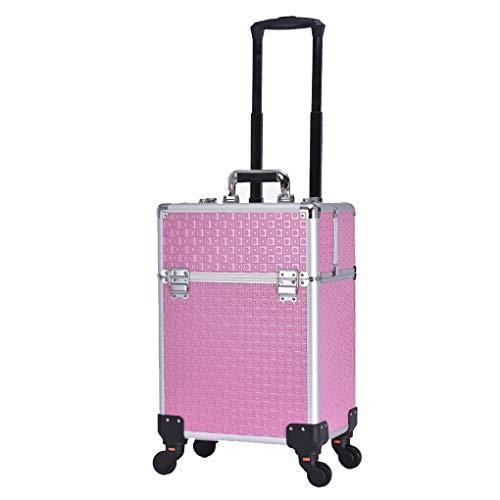 AOHMG Portable Maquillage Valise Trolley, Aluminium Maquilleur Valise De Maquillage Professionnel, Mallette à Maquillage Valise avec Touches verrouillables,Pink