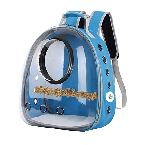 LOVIVER Lightweight Bird Carrier, Transparent and Breathable Outdoor Bird Travel Backpack, Suitable for Parrot Pets and Bird Habitat - Light Blue