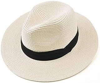 Wxcgbtym قبعة الشمس، قبعات للنساء الشريط الأسود سترو قبعة الأزياء سيدة القبعات شاطئ الشمس قبعة