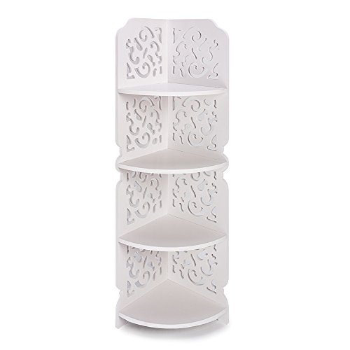 Hollylife Estante Madera-Plástica de Suelo, 4 Baldas, Estantería Decorativa, Mueble Impermeable de Rinconera Baño Cocina Entrada para Plantas Útiles Necesarios Alcohol,80 x 18 x 22cm,
