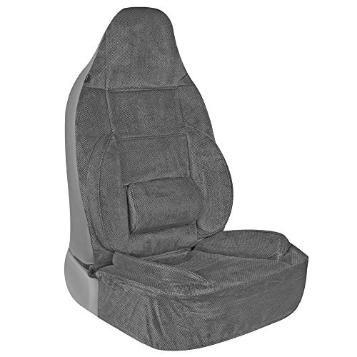 BDK BackSaver High-Back Car Seat Covers for Front Seats Only – Built-in Ergonomic Lumbar Support with Back and Leg Cushions, Universal Fit for All Headrest Types in Car Truck Van and SUV (Charcoal)