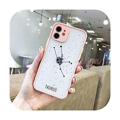 Funda de teléfono de lujo 12 constelaciones para iPhone 12 11 Pro Max 7 8 Plus XS Max X XR SE2 lente colorido protección transparente mate cubierta -68P-para iPhone 12mini
