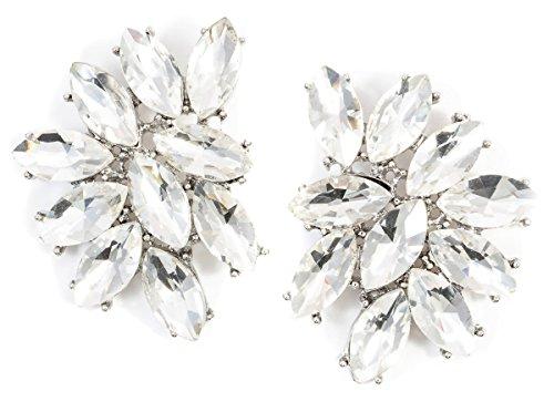 Happiness Boutique Damen Statement Ohrringe in Silberfarbe | Auffällige Ohrringe Funkelnde Strasssteine in Neutraler Farbe