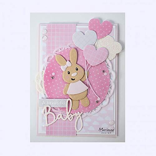 Marianne Design Baby Bunny collectables Plantillas de Corte, eline's Conejito bebé, para diseños intrincados y Detalles en Relieve en Manualidades en Papel, Metal, 0
