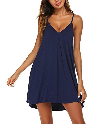 Ekouaer Womens V Neck Sleeveless Nightgown Sleepwear Summer Slip Night Dress, Champlain Color, XX-Large
