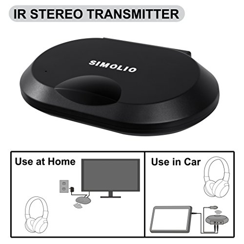 SIMOLIO 2 Channels IR Audio Transmitter, Wireless Infrared Sensor for Car DVD&TV&PC, IR Transmitter for Universal Car Wireless Headphone, AUX Jack, Car Cigar Lighter & AC Adapter Included SM-261A